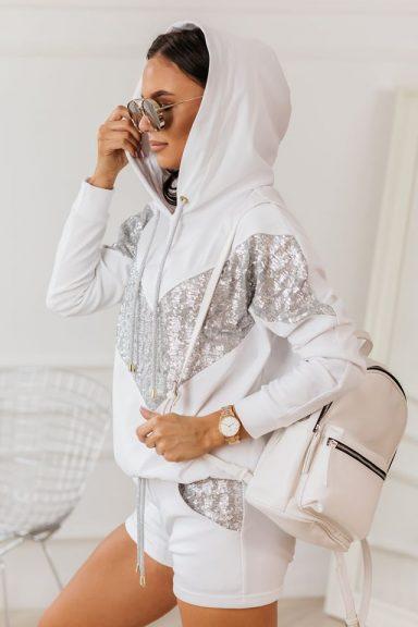 Cocomore biała bluza srebro cekiny dres 38 M