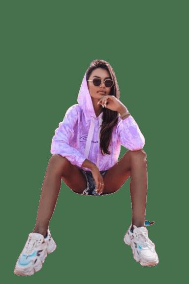 Cocomore bluza fiolet napis kaptur cieniowana L HIT