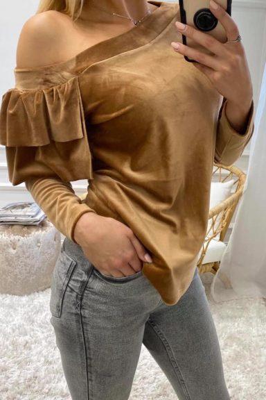 Cocomore karmelowa bluzka falbanki na rękawie M