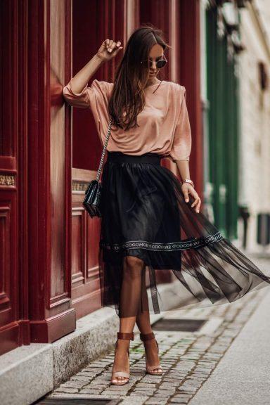 Cocomore czarna spódnica napis lampas taśma S