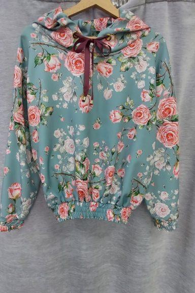 Cocomore bluza kwiaty róże turkus ściągacz kaptur L