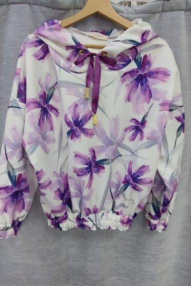 Cocomore bluza kwiaty lila fiolet ściągacz kaptur L