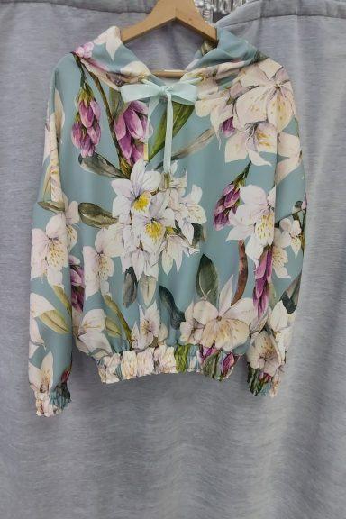 Cocomore bluza kwiaty ściągacz kaptur spodnie L