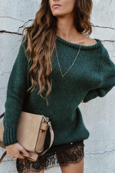 Cocomore sweter rulon butelkowa zieleń