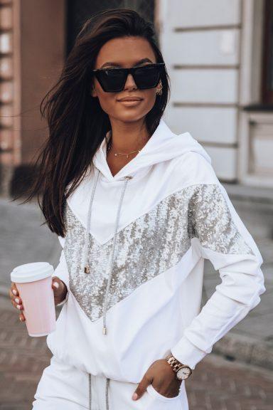 Cocomore białe spodnie cekiny srebro legginsy L