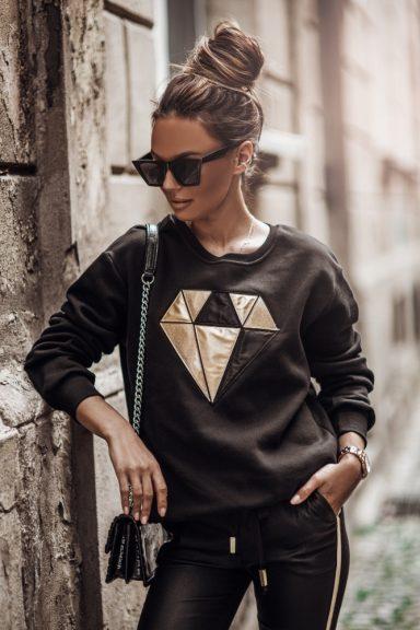 Cocomore bluza czarna złoto diament aplikacja L