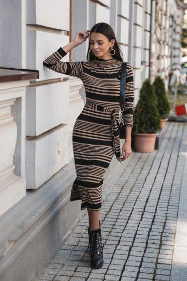 Cocomore czarna karmelowa sukienka paski 36 S