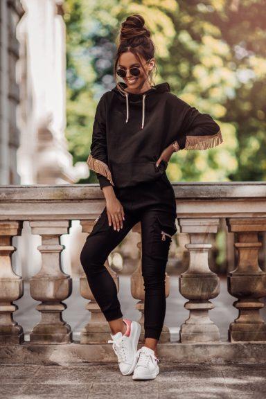 Cocomore spodnie bojówki czarne kieszonki zamki L