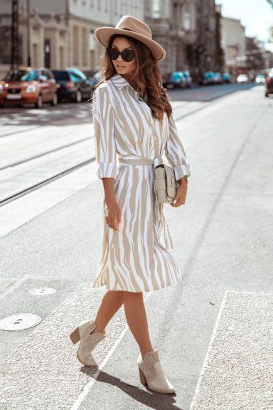 Cocomore biało beżowa sukienka zebra wiązana 36 S