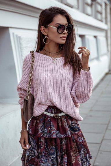 Cocomore sweter pudrowy róż wiązany z tyłu