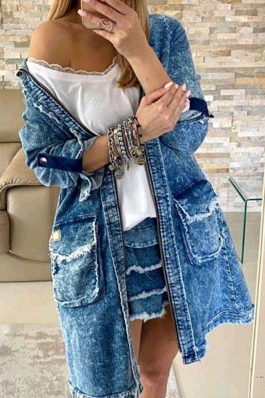 By o la la dżinsowy jeans logo płaszcz niebieski S