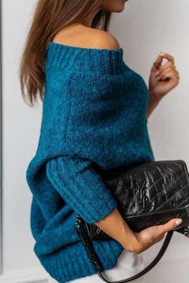 Cocomore sweter niebieski szmaragdowy trili