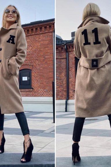 "By o la la karmelowy płaszcz "" 11 "" M"