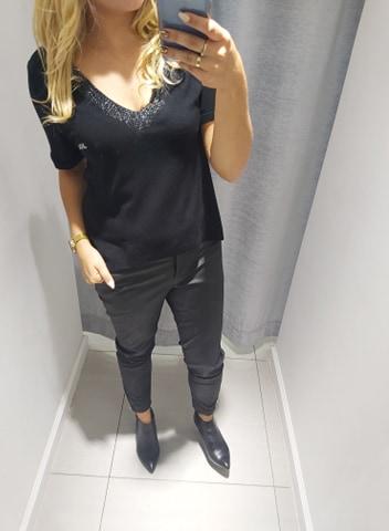 By o la la czarna bluzka sweter ozdobny dekolt M/L