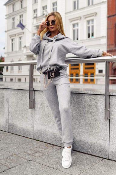 Cocomore szara bluza dzianinowa spodnie dres L