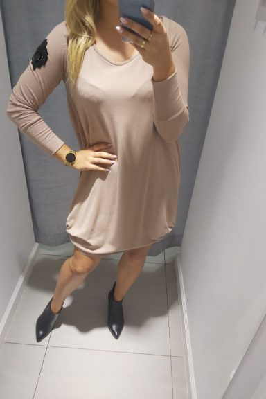 By o la la beżowa sukienka naszywki kieszeń M