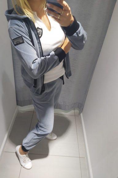 By o la la szary komplet welurowy bluza i spodnie M