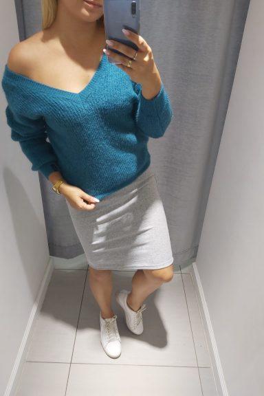 By o la la szara spódnica prążkowana bawełna L