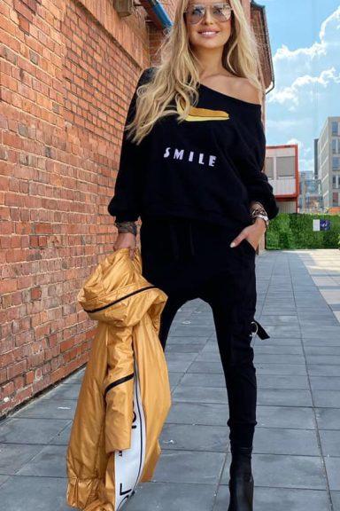 By o la la czarna bluza bluzka SMILE banan S/M