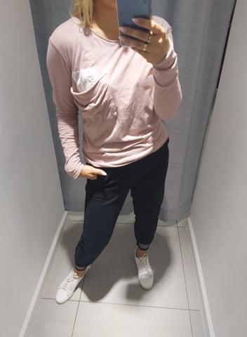 By o la la różowa bluzka naszywka kieszonka L
