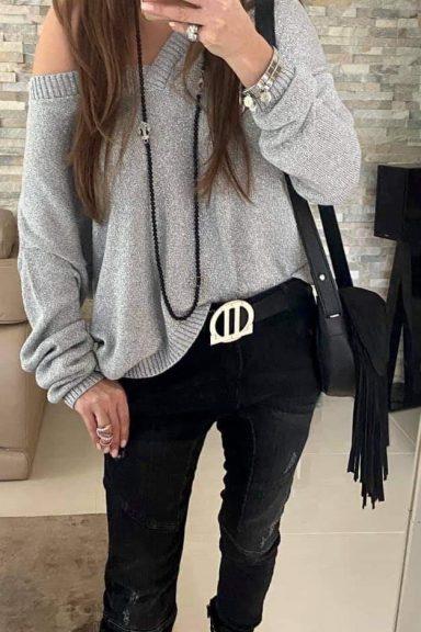 By o la la sweter dekolt V srebrna nitka