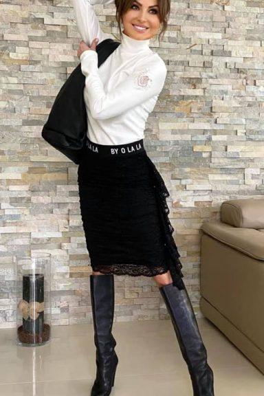 By o la la czarna spódnica koronka lampas L