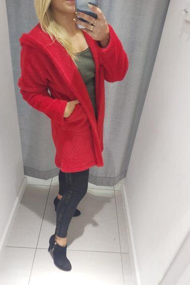 By o la la płaszcz czerwony alpaka logo uni