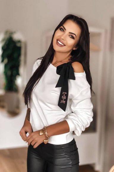 Luise biała bluzka bluza wstążka kokarda czarna S