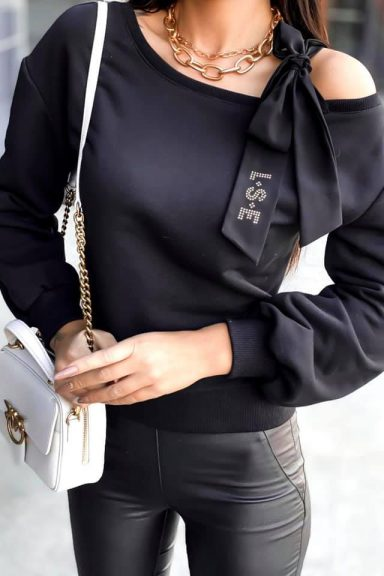 Luise czarna bluzka bluza wstążka kokarda czarna S