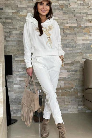 By o la la komplet biały bluza spodnie Feniks S