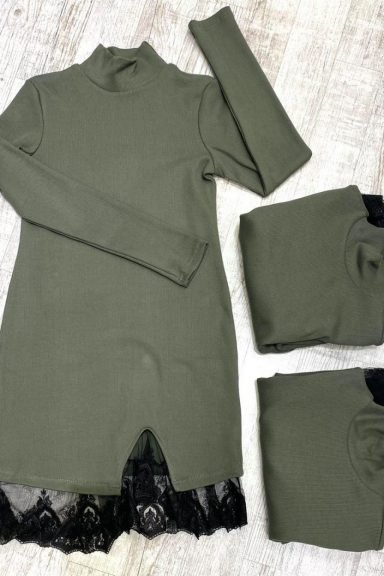 By o la la sukienka khaki prążek koronka czarna S