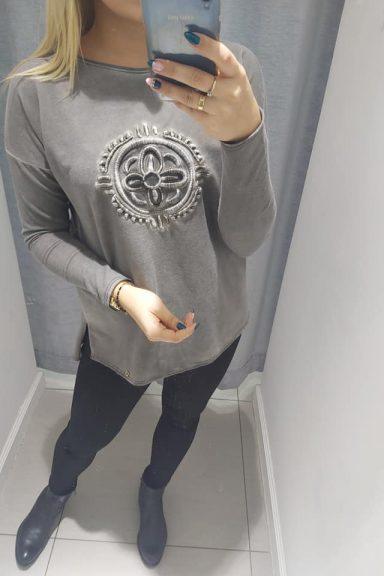 By o la la bluzka bluza grafitowa szara tatuaż M/L