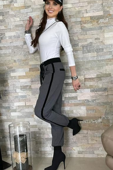 By o la la spodnie szare czarny lampas S