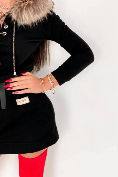 Luise sukienka tunika czarna eco futerko wiązana S