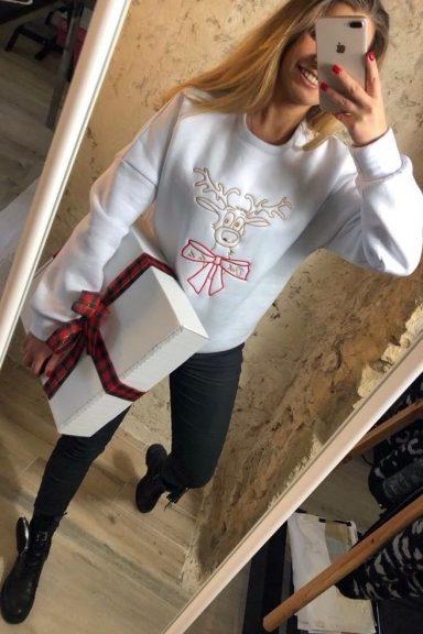 Ooh lala biała gruba bluza świąteczna renifer uni