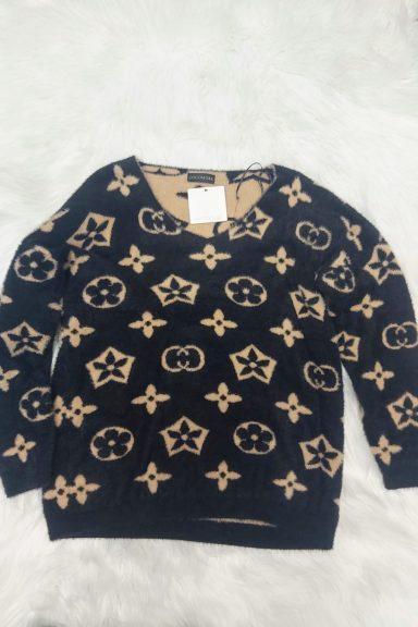 Cocomore sweter beżowo czarny alpaka wzór dekolt V