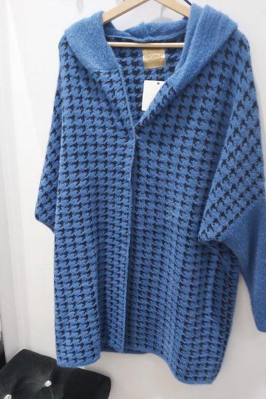 Cocomore płaszcz alpaka czarno niebieski pepitka