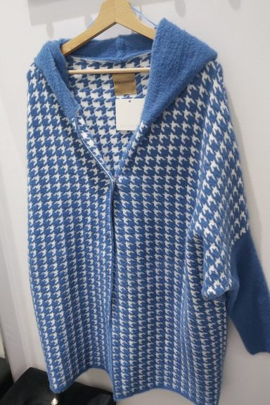 Cocomore płaszcz alpaka niebiesko biały pepitka