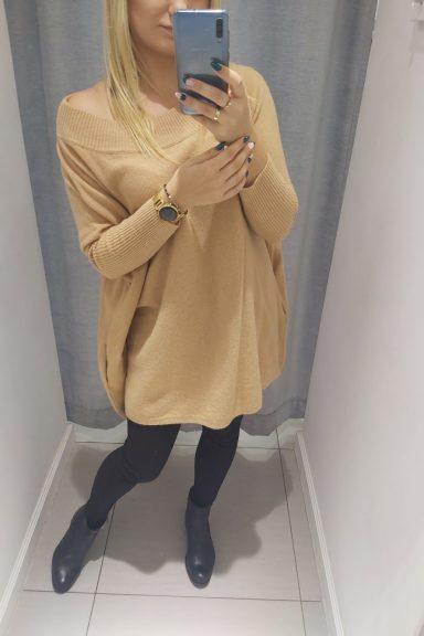 Cocomore sweter beżowy oversize kieszeń uni