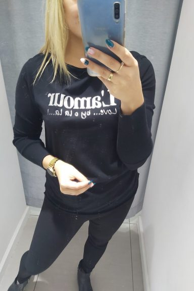 By o la la czarna bluzka L'amour bawełna M