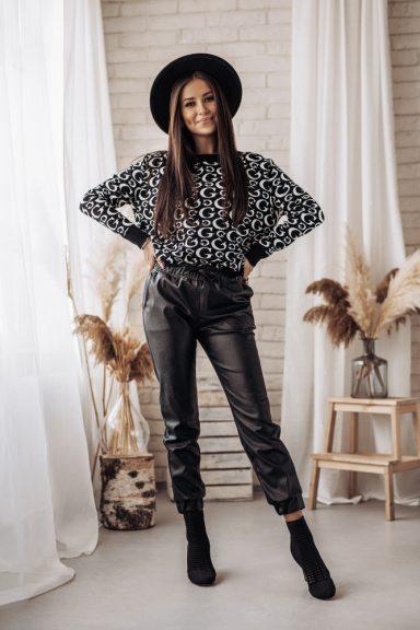 Cocomore czarne spodnie eco skóra woskowane M