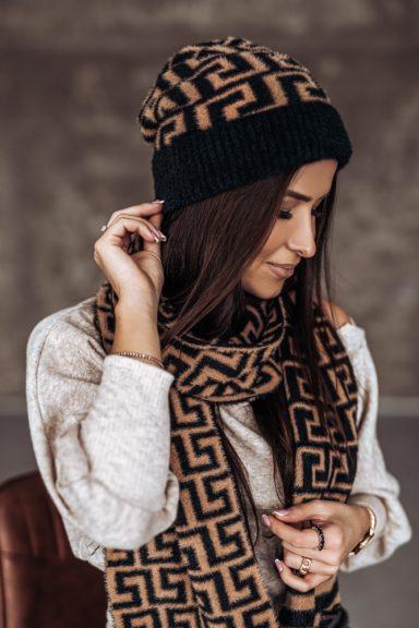 Cocomore czapka szalik wzór geometryczny alpaka