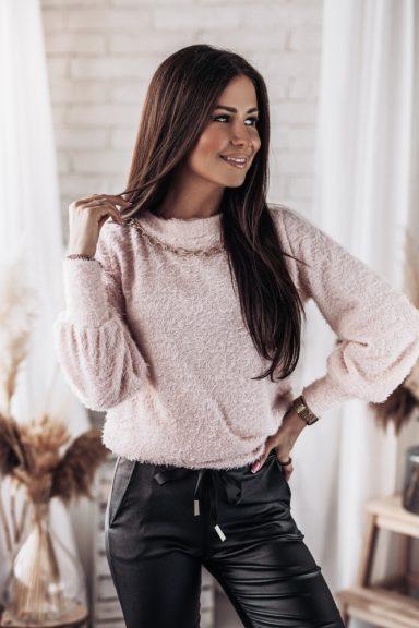 Cocomore bluzka sweter pudrowy róż łańcuszek L