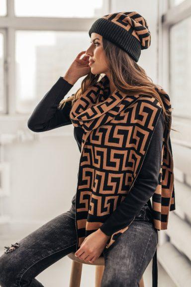Cocomore czapka szalik wzór geometryczny KOMPLET