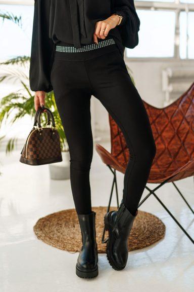 Cocomore czarne spodnie legginsy zamek taśma L