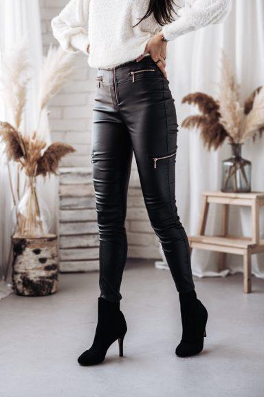 Cocomore czarne spodnie legginsy zamki eco skóra S