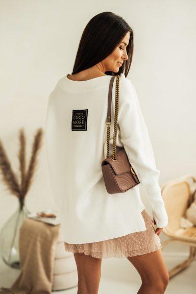 Cocomore Biały sweter uni