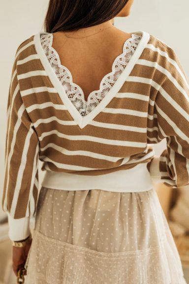 Cocomore bluzka biało-beżowa paski S