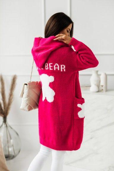 Cocomore kardigan fuksja I LOVE BEAR misie uni