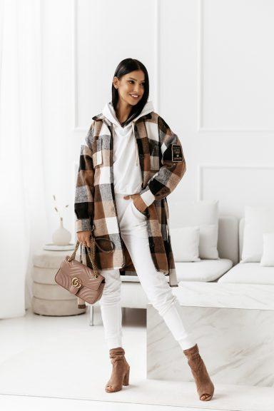 Cocomore wełniany płaszcz w kratę brązowy L
